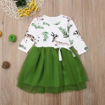 Pretty Christmas Deer Patterned Splice Tulle Long-sleeve Dress