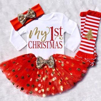 4-piece Lovely Letter Print Bodysuit, Dotted Skirt, Headband and Leg Warmers Set