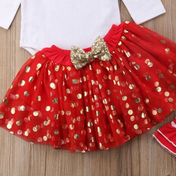 4-piece Lovely Letter Print Bodysuit, Dotted Skirt, Headband and Leg Warmers Set