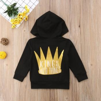 Stylish Crown Appliqued Long-sleeve Hooded Coat