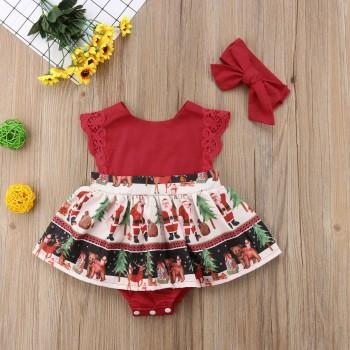 Festival Christmas Print Dress Sleeveless Bodysuit and Headband for Baby
