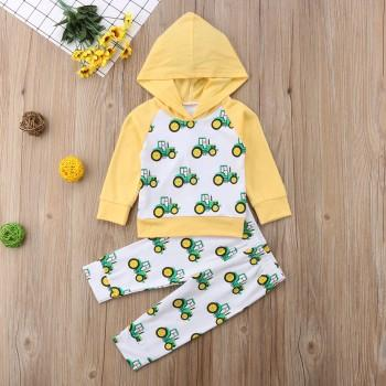 Fashionable Car Patterned Long-sleeve Hoodie and Pants Set