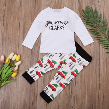 2-piece Casual Letter Print Long-sleeve Top and Car Patterned Pants Set