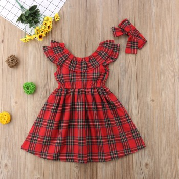 2-piece Elegant Christmas Flounced Collar Plaid Sleeveless Dress and Headband Set