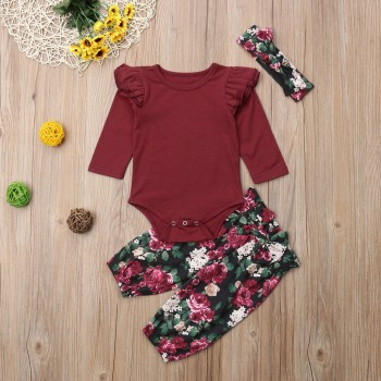 Pretty Solid Long-sleeve Romper, Floral Pants and Headband Set