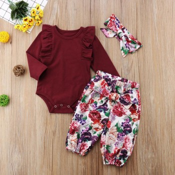 Pretty Solid Ruffled Long-sleeve Romper and Floral Pants Set