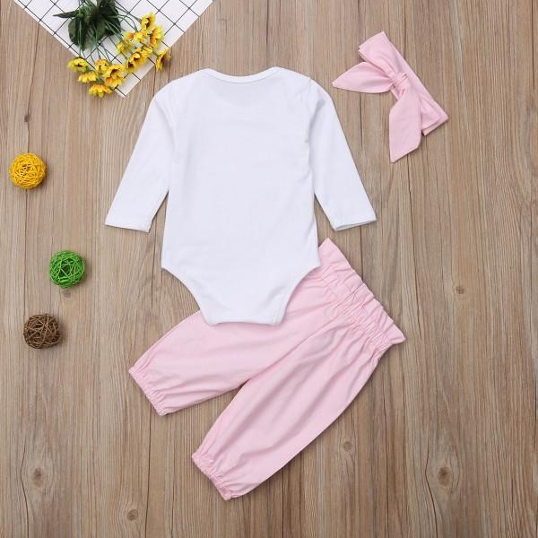 Casual Letter Print Long-sleeve Romper, Solid Pants and Headband Set