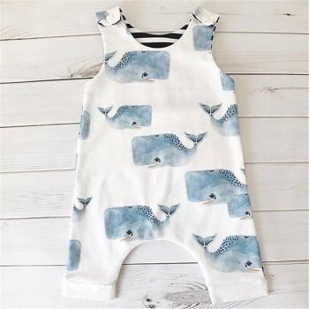 Lovely Whale Sleeveless Overalls Jumpsuit for Baby
