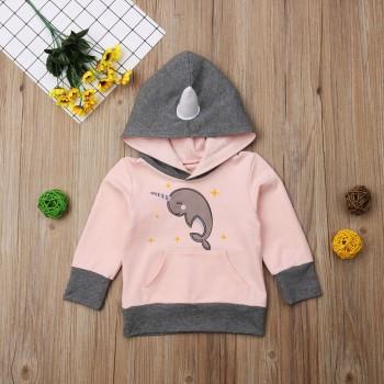 Cute Dolphin Print Long-sleeve Hoodie