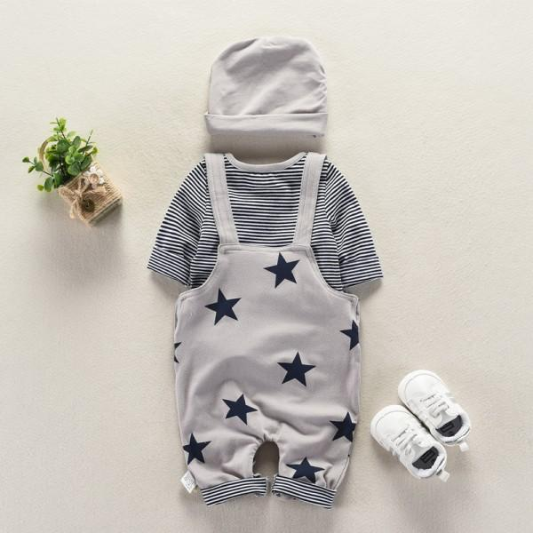 3-piece Striped Tee, Star Pattern Overall Pants and Hat Set for Baby Boys