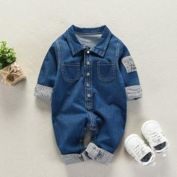 Handsome Denim Striped Cuffs Jumpsuit for Babies