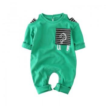 Cool Striped Pocket Long-sleeve Jumpsuit for Babies