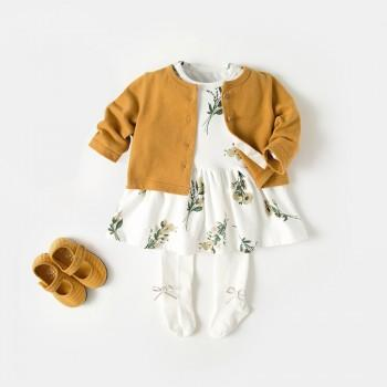 Cotton Floral Long Sleeve Dress and Cardigan Set for Baby Girls