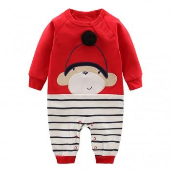 Super Cute Monkey Appliqued Striped Jumpsuit for Babies