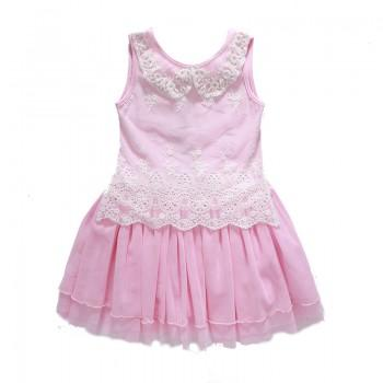 Sweet Lace Sleeveless Mesh Dress in Pink for Girls