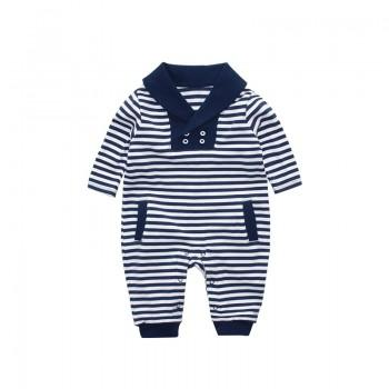 Marine Style Stripes Long Sleeve Jumpsuit for Baby