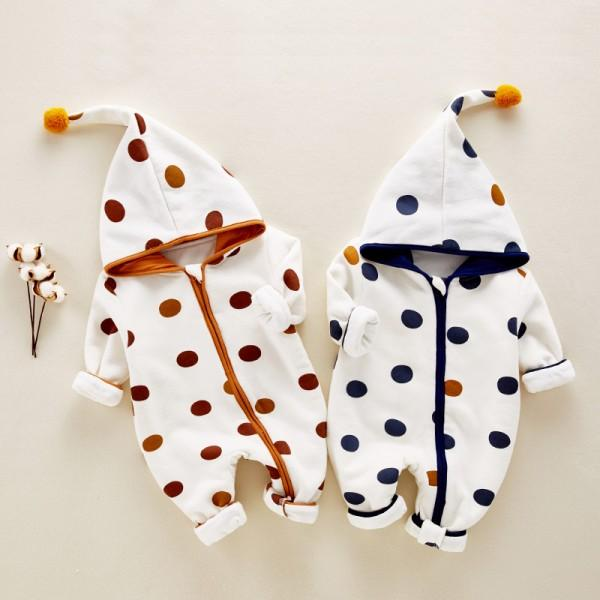 Cute Polka Dots Hooded Long-sleeve Jumpsuit for Babies