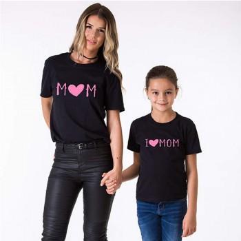 I LOVE MOM Printed Mom and Me Black Tee Top