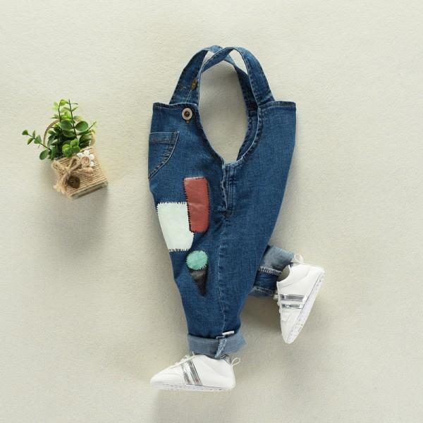 Geo Patch Denim Straps Jumpsuit for Baby