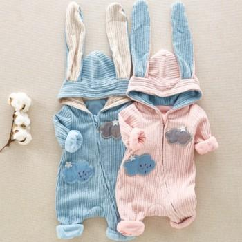 Adorable Bunny Ears Zip-up Hooded Jumpsuit for Baby and Newborn