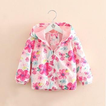 Pretty Floral Hooded Jacket in Pink for Girls