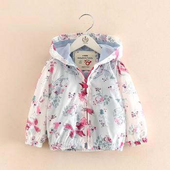 Pretty Fox Printed Hooded Jacket in White for Toddler Girl and Girl