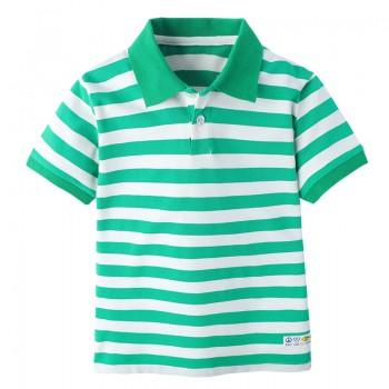 Casual Striped Cotton Short Sleeve Polo Shirt for Boys
