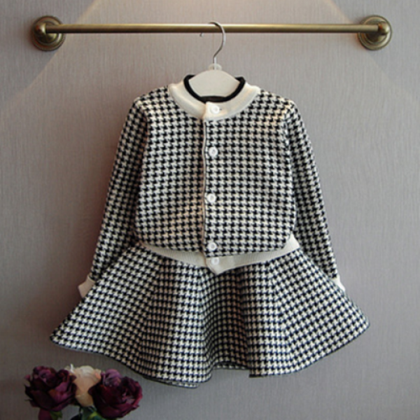 2-piece Sweet Plaid Long Sleeve Top and Skirt Set for Girls