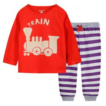 Playful Patterned Long Sleeve Top and Striped Pants Set for Kids