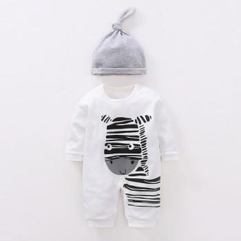 Playful Zebra Long Sleeve Cotton Jumpsuit in White for Baby and Newborn