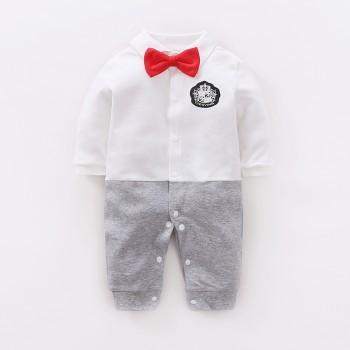 Baby & Toddler's Color-Blocking Gentleman Jumpsuit in White with Bowknot Decoration