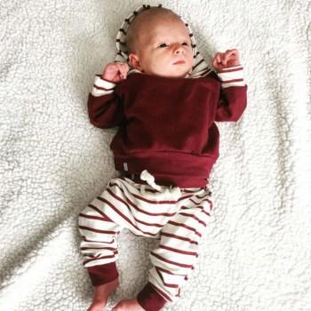 bb9f1df1fd6 Baby s Long Sleeve Pullover Hoodie and Striped Pants Set in Red