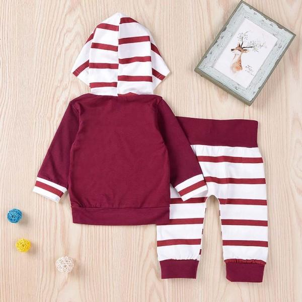 Baby's Long Sleeve Pullover Hoodie and Striped Pants Set in Red