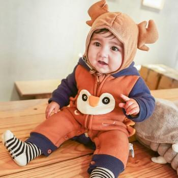 Baby's Owl Hooded Jumpsuit