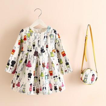Lovely Rabbit Pattern Pleated Long-sleeve Dress with A Bag for Toddler Girl and Girl