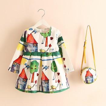 Pretty Landscape Print Pleated Long-sleeve Dress with A bag for Toddler Girl and Girl