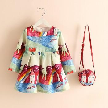 Beautiful Pretty Landscape Print Pleated Long-sleeve Dress with A Bag for Toddler Girl and Girl