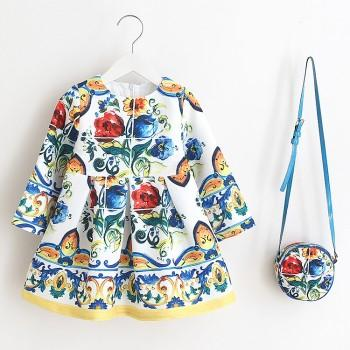 Gorgeous Flower Printed Long Sleeve Dress and Bag Set for Baby and Toddler Girls
