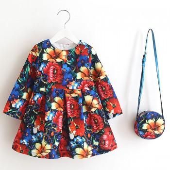 Gorgeous Flowers Printed Long Sleeve Dress and Bag Set in Hot Pink for Baby and Toddler Girls