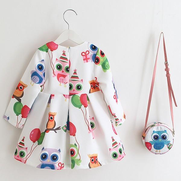 Adorable Owls  Long Sleeve Dress and Bag Set for Baby and Toddler Girls