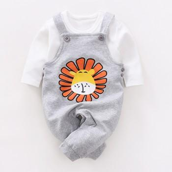 2-piece Lion Print Overall Pants and White T-shirt Set for Babies