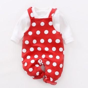 2-piece Polka Dots Overall Pants and White T-shirt Set for Babies