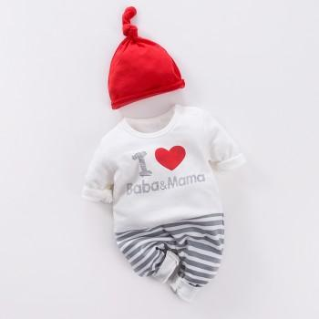 Sweet Letter Printed Cotton Color-block Jumpsuit for Baby and Newborn