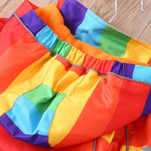 Rainbow Striped Fleece-lined Hooded Jacket for Kids