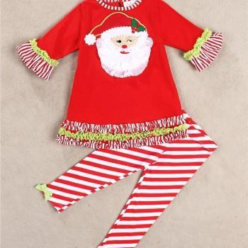 Red Amiable Santa Claus Tee & Stripe Pants Set