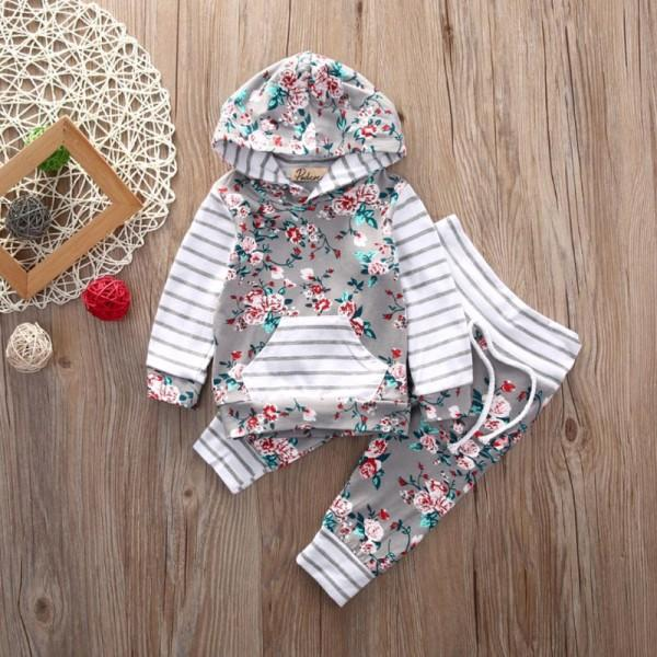 Flower Print Hooded Pullover and Pants Set for Baby Girls