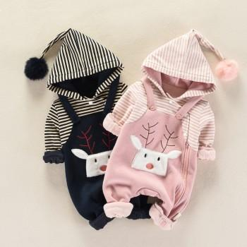 Baby's Adorable Deer Faux-two Long Sleeve Jumpsuit