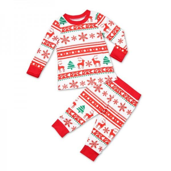 Happy Christmas Deer and Snowflake Pattern Family Matching Pajamas