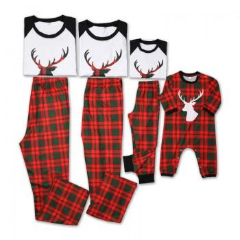 Festive Reindeer Print Plaid Pajamas for Family Matching