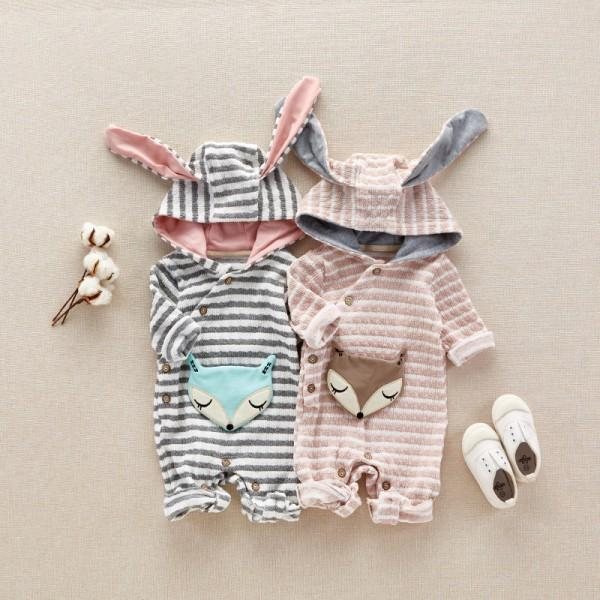 Stylish Fox Appliqued Striped Hooded Jumpsuit for Babies